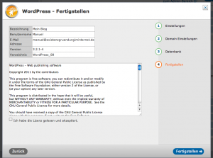 Wordpress fertigstellen