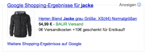 Adwords Produktanziege