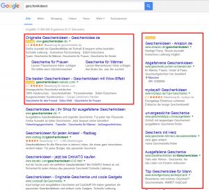 Screenshot der Google-Suchergebnisse mit AdWords-Textanzeigen.