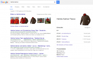 Screenshot: Google, Keyword 'Härkila Kalmar', 23.03.16