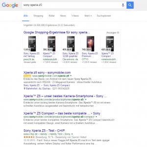 Google Shopping, bisherige Darstellung der Product Listing Ads